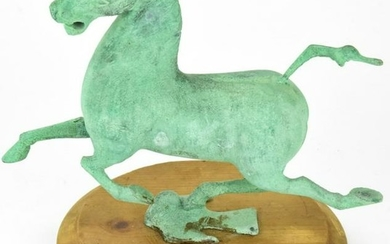 Bronze Sculpture of Tang Style Horse Verdigris