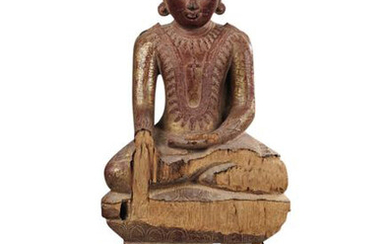 Buddha dressed in his Utarasanga monastic robe and head surmounted by the Usnisha, symbol of knowledge. It is in the position of a witness ground on its lotiform pedestal.