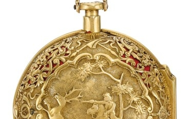 CABRIER, LONDON | A GOLD PAIR CASED QUARTER REPEATING REPOUSSÉ VERGE WATCH CIRCA 1740