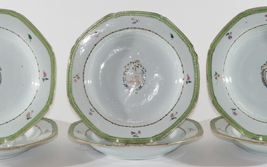 CHINESE EXPORT PORCELAIN PLATES 18TH C PCS DIA COAT OF ARMS