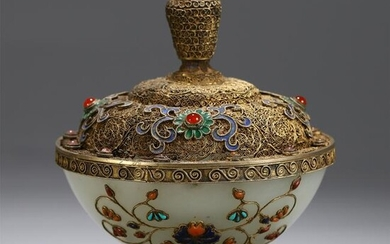 CHINESE GILT SILVER JADE INLAID CARVED LIDDED CUP