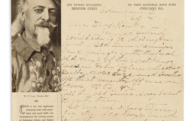 "CODY, WILLIAM F. (""BUFFALO BILL""). Autograph Letter Signed, ""W.F. Cody,"" to ""My Dear Hawks"" [Frank Lee Houx?]"