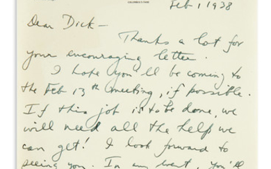COPLAND, AARON. Two Autograph Letters Signed, to composer Richard Pindle Hammond (Dear Dick or Dear Mr. Hammond).