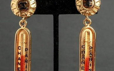 Chanel Runway Thermometer Gold-Tone Earrings