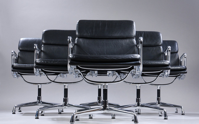 Charles Eames. A set of six Soft Pad lounge chairs, Model EA-207, black patinated leather (6)