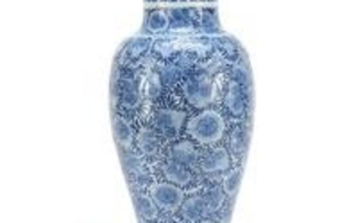 Chinese blue and white porcelain vase hand painted with
