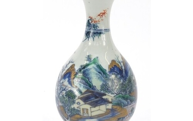 Chinese porcelain baluster vase hand painted with a fisherma...
