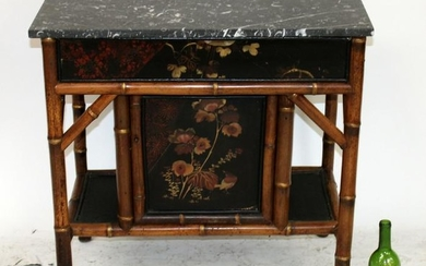 Chinoiserie painted bamboo marble top cabinet