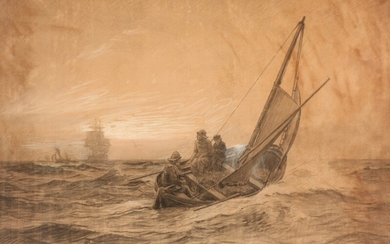 Christian Mølsted: Fishermen in rough seas, The Sound near Dragør. Signed Chr. M. Charcoal heightened with white on paper. Visible size 92×138 cm.