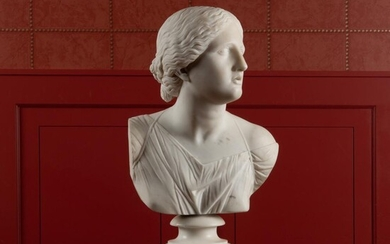 Classical White Marble Bust of Artemis
