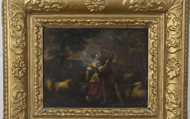 Continental School - Shepherd and Shepherdess kissing in a Landscape, 18th century oil on panel, 17.