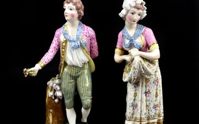 DERBY; a large pair of early 19th century figures...
