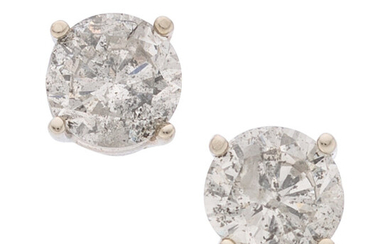 Diamond, White Gold Earrings The stud earrings feature round...