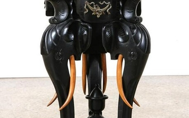 EBONIZED BRONZE MOUNTED ELEPHANT PEDESTAL C.1880