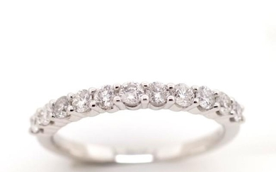 Eleven stone diamond and 9ct white gold ring approx 0.50ct r...