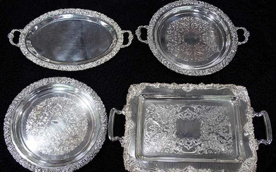FOUR SILVER PLATED ORNATE TRAYS