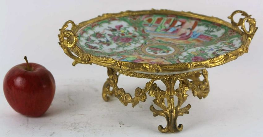 FRENCH BRONZE MOUNTED CHINESE ANTIQUE COMPOTE
