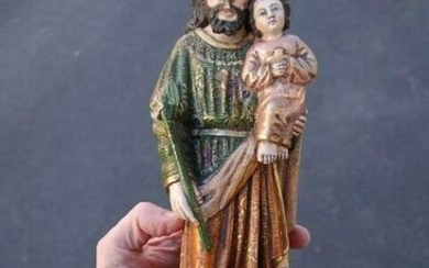 "Fine Hand Carved Wood Statue of ""St. Joseph w/Child""+"