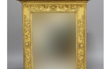 GILT OVERMANTEL MIRROR, of rectangular form, the frame with ...