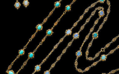 Gold and Opal Long-Chain Suite with Matching Turquoise Necklace/Bracelets