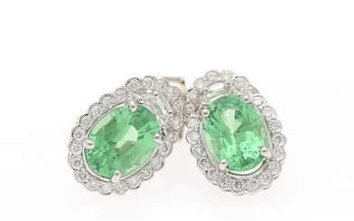 Hartmann's: A pair of tsavorite and diamond ear studs each set with an oval-cut tsavorite weighing a total of app. 2.71 ct., encircled by numerous diamonds.