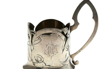 IMPERIAL RUSSIAN SILVER TEA GLASS HOLDER, 19TH C.