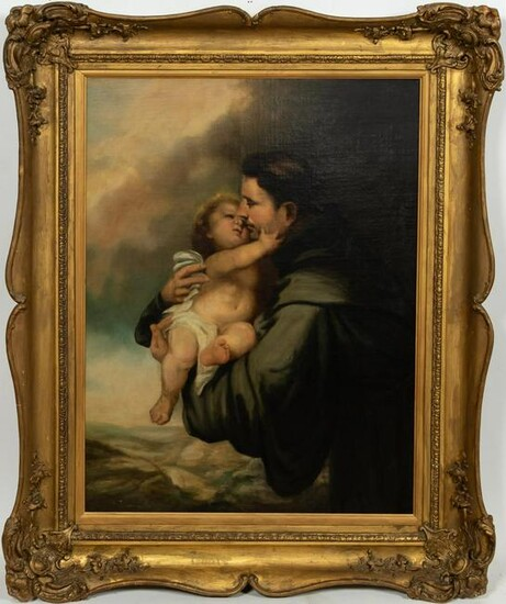 ITALIAN ECCLESIASTIC O/C, SAINT WITH CHILD