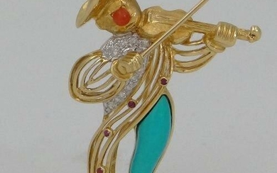 LADIES 18K YELLOW GOLD DIAMOND RUBY CORAL TURQUOISE