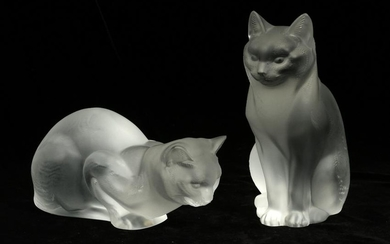 "LALIQUE CRYSTAL CAT FIGURINES, 2 PCS, H 4""-8.5"""