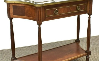 LOUIS XVI STYLE MARBLE-TOP MAHOGANY CONSOLE TABLE