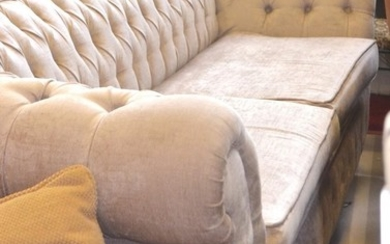 Large 4 seater Chesterfield sofa, fabric covered