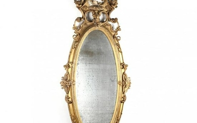 Large Antique Rococo Revival Carved and Gilt Mirror