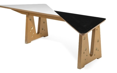 Lucien-Jacques Baucher, attributed: Sculptural and unique table of birch, frame perforated with circle pattern. Triangular top with black and white Formica.