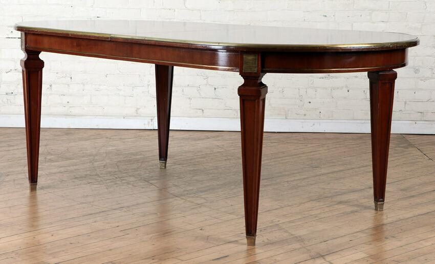 MAHOGANY BRONZE MOUNTED EXTENDING DINING TABLE