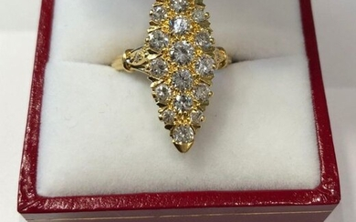 Marquise ring in yellow gold, entirely set with 21 brilliant-cut diamonds, for ~ 2cts. - TDD / 51 - 6,8g