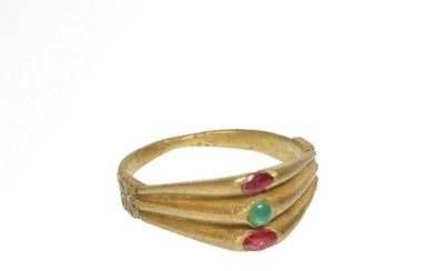 Medieval Triple Gold Ring with Rubies and Emerald