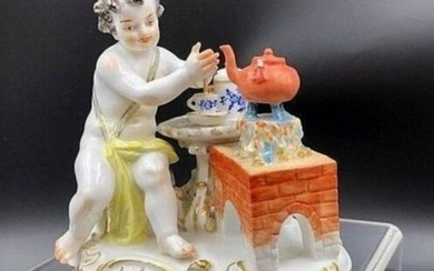 Meissen Porcelain Figurine Boy Preparing Hot Chocolate