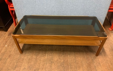 Mid century Myers teak and smoked glass coffee table.