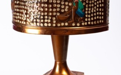 Mid century copper African themed lamp - (needs re…