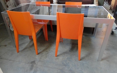 Modern Glass Topped Orange Aluminium Dining Table with 4 Mat...