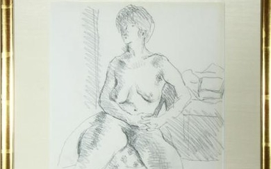 "Moses Soyer ""Female Nude"" Pencil Drawing"