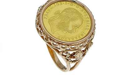 Coin ring GG 750/000 with a gold coin...