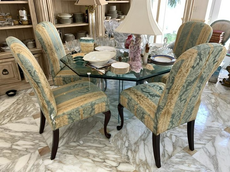 OCTAGON GLASS BASE TOP DINING TABLE W/ 5 CHAIRS