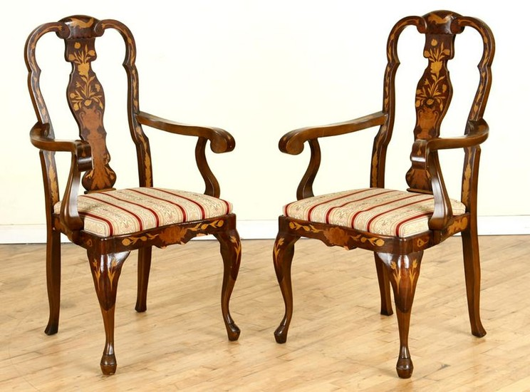 PAIR DUTCH MARQUETRY STYLE OPEN ARM CHAIRS C.1950