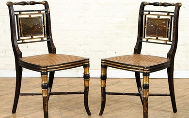 PAIR ENGLISH REGENCY STYLE SIDE CHAIRS CANE SEATS