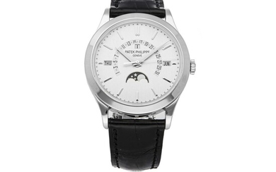 PATEK PHILIPPE | REF 5496P, A PLATINUM AUTOMATIC PERPETUAL CALENDAR WRISTWATCH WITH RETROGRADE DATE, MOON PHASES AND LEAP YEAR INDICATION CIRCA 2012