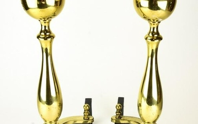 Pair Brass and Cast Iron Andirons