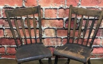 Pair Early Arrow-back Plank Bottom Chairs