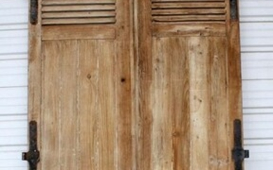 Pair French rustic doors in pine with forged iron