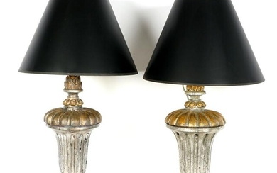 Pair Italian Silver Gilt Carved Wood Lamps